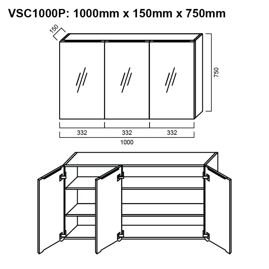Pencil edge three glass mirror door 1000mm shaving cabinet