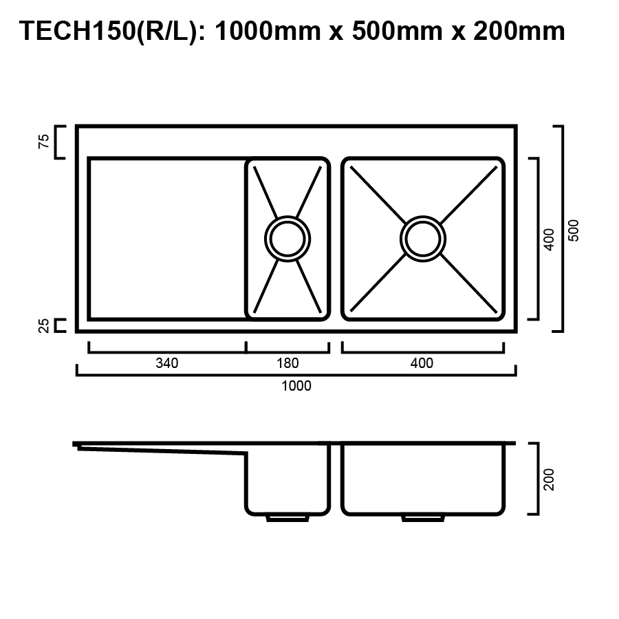 Kitchen Sink Drawing: Package - Tech 150 Sink Package With Accessories