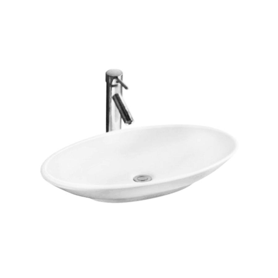 white ceramic oval above counter bathroom basin