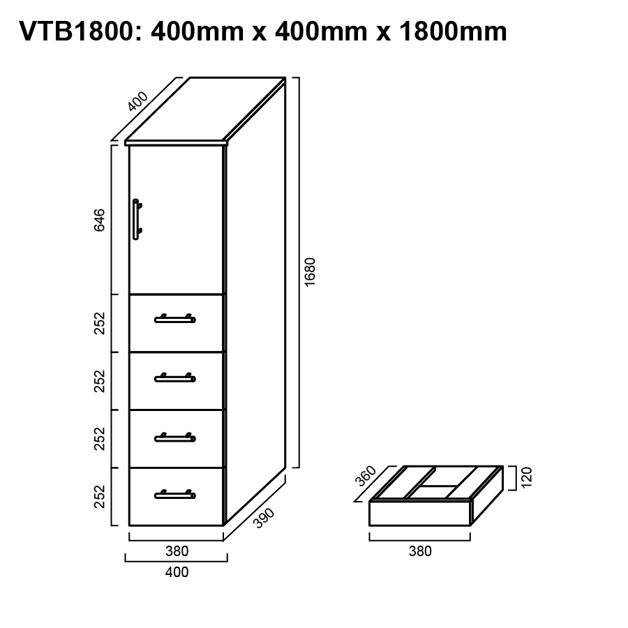One door four drawer white 1800mm tall boy