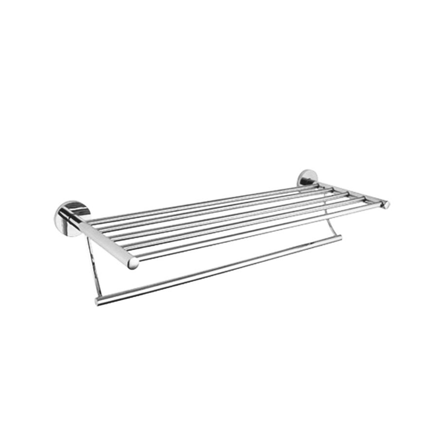 Round stainless steel bathroom towel shelf rack