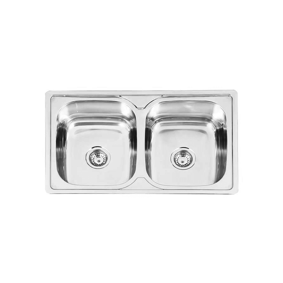 Stainless steel double bowl sink without drainer
