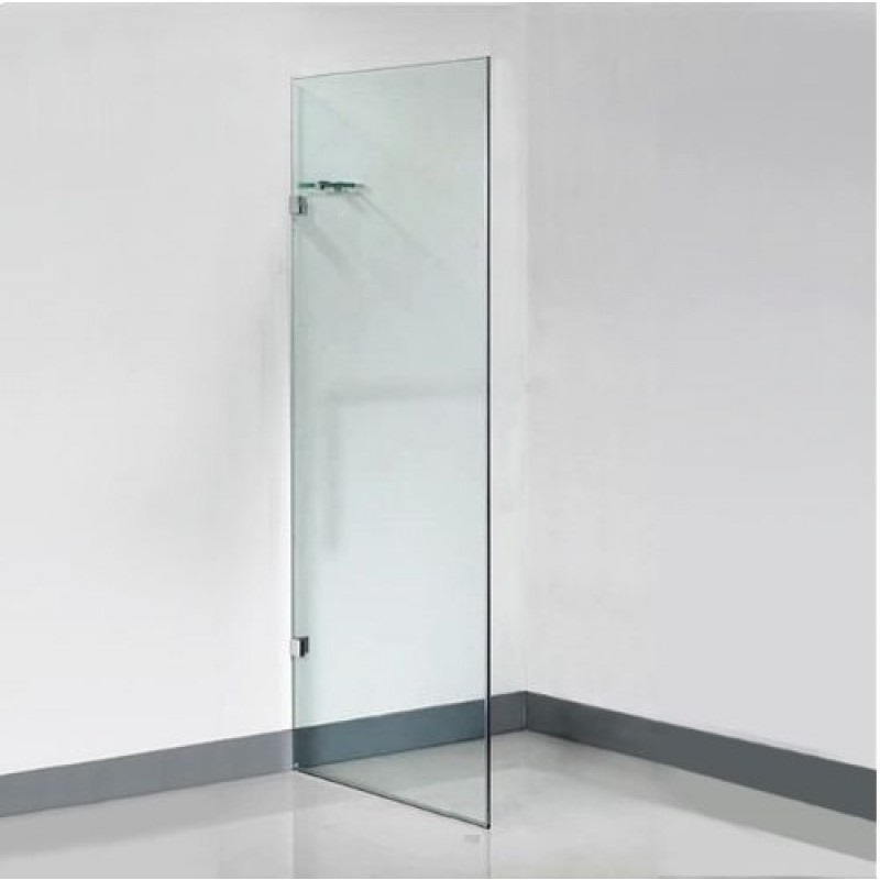 Frameless glass shower panel with corner shelf