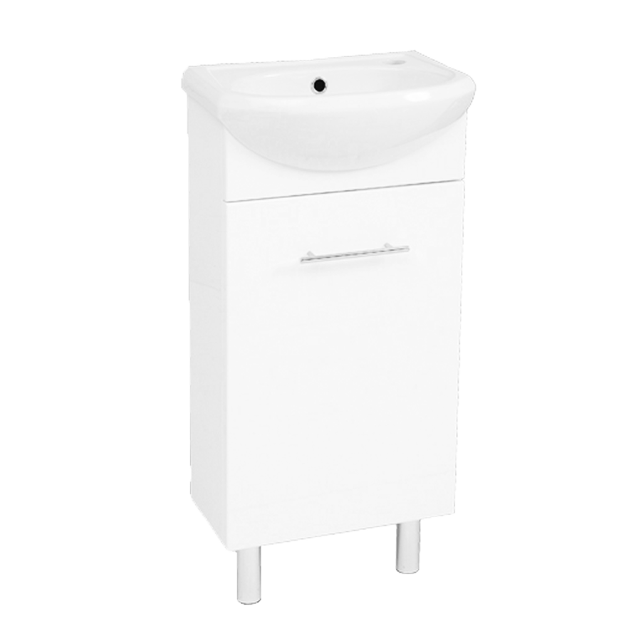 Single door white 400mm vanity with ceramic top