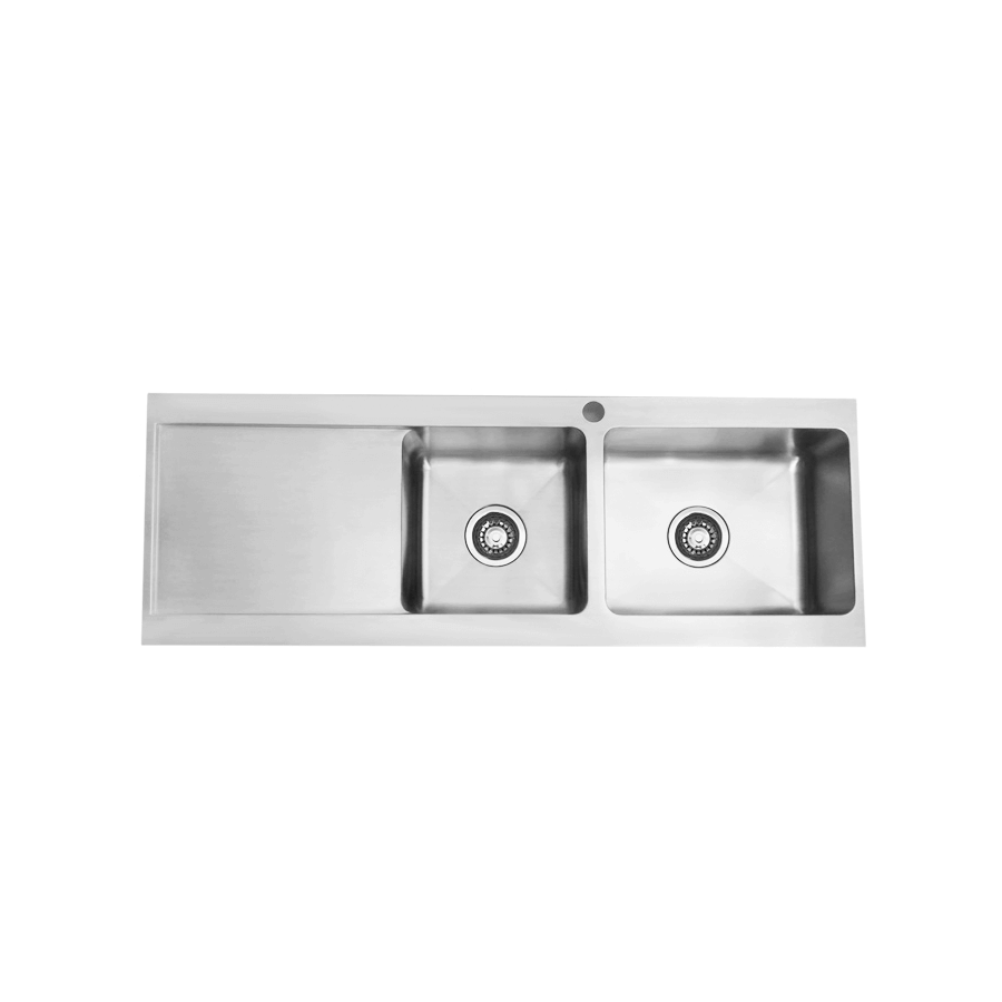 Stainless steel one and three quarter bowl brushed slim sink with drainer