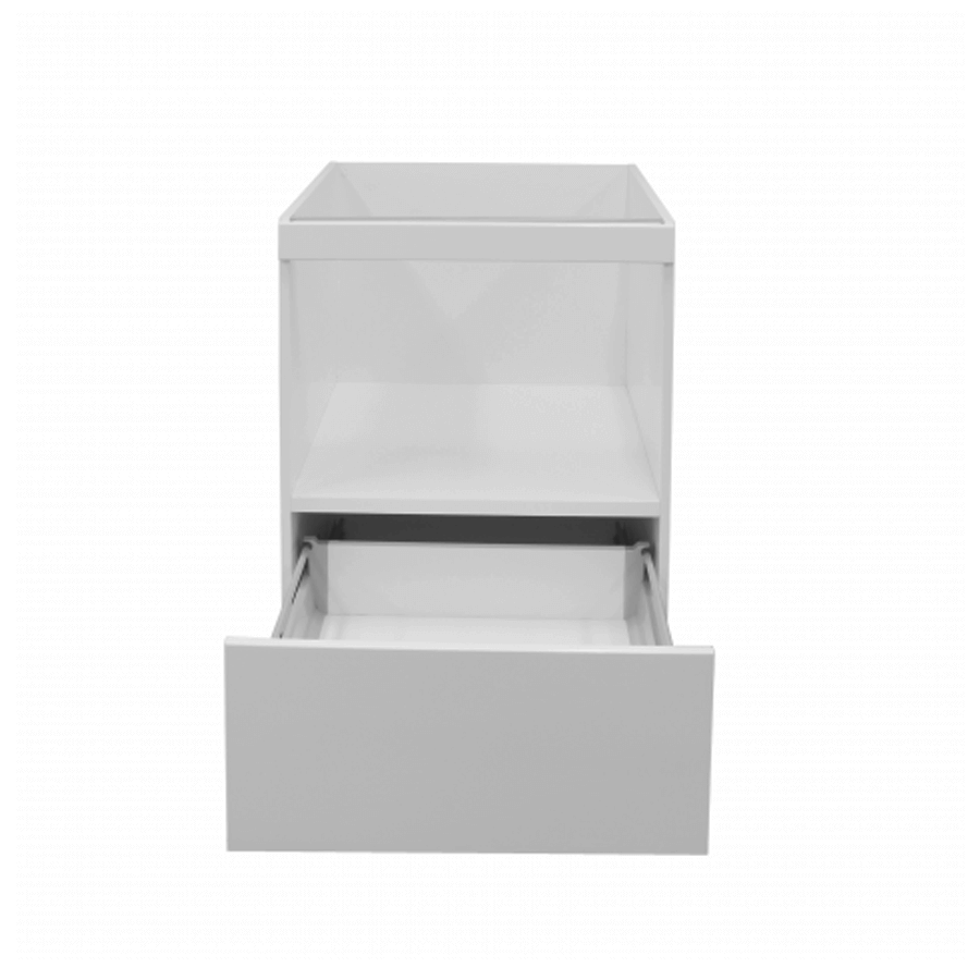 White gloss one drawer microwave unit 600mm