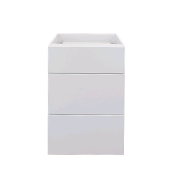 White gloss three drawer base cabinet 500mm
