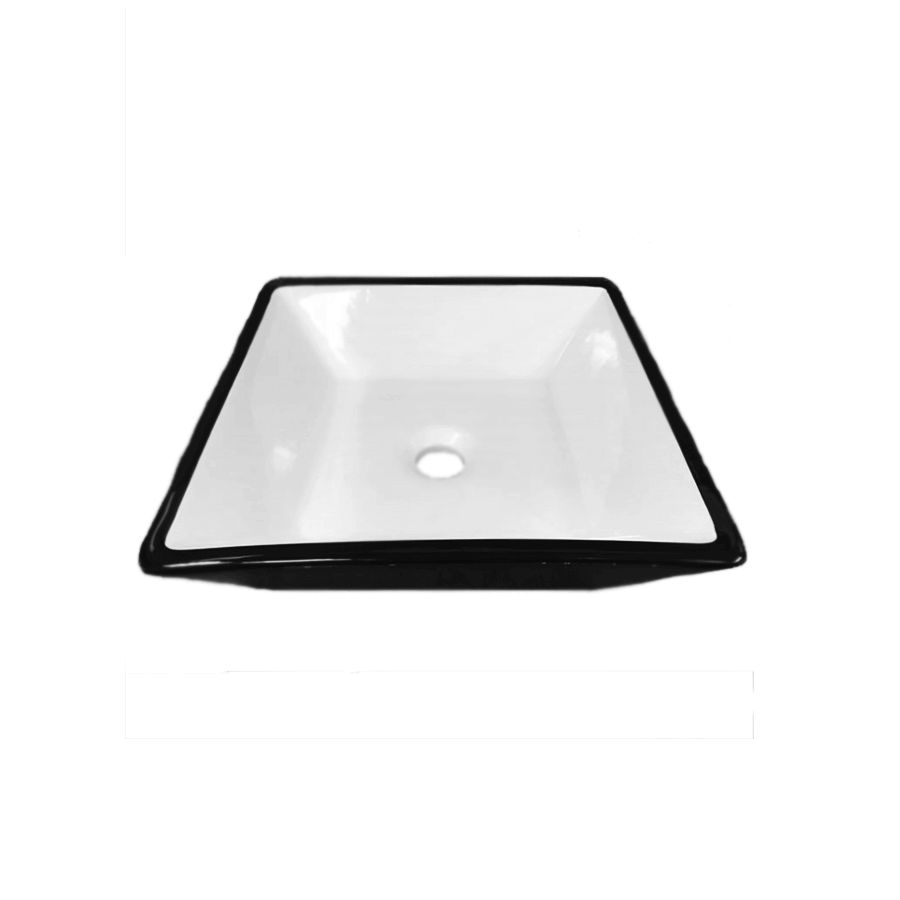 white and black ceramic square above counter bathroom basin