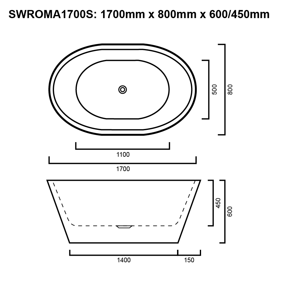Round free standing white 1700mm bath line drawing