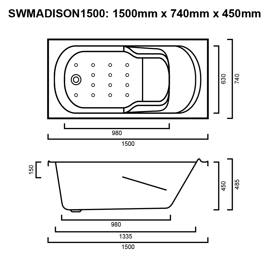 Square rounded white inset 1500mm bath with arm rests line drawing