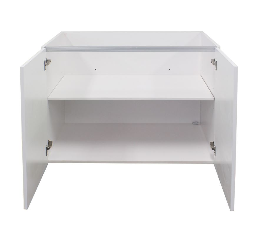 White gloss double door base cabinet 700mm