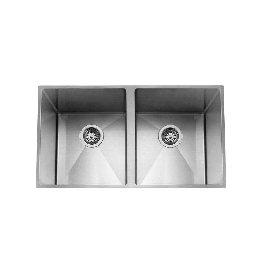 Square brushed stainless steel kitchen sink at The Sink Warehouse showroom