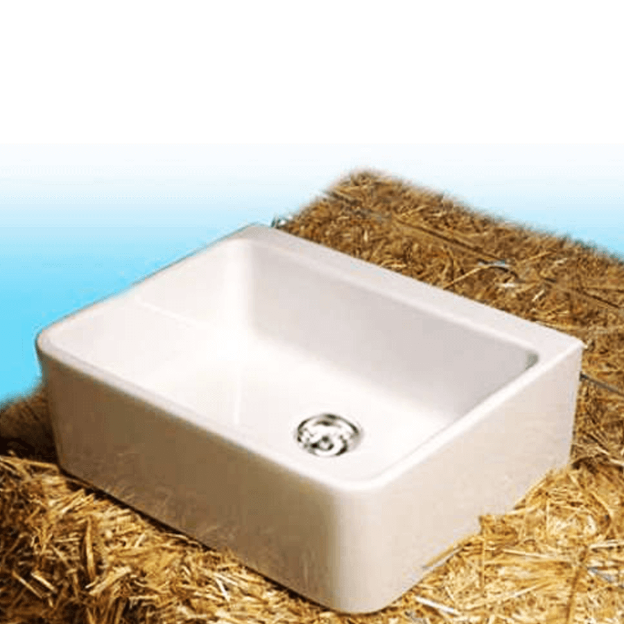 White ceramic mini single bowl sink with plug