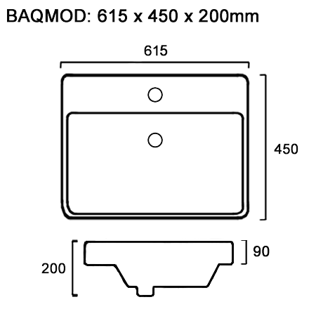line drawing for rectangle half inset bathroom basin