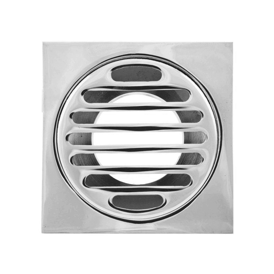 Square chrome 80mm diameter 50mm outlet floor grate