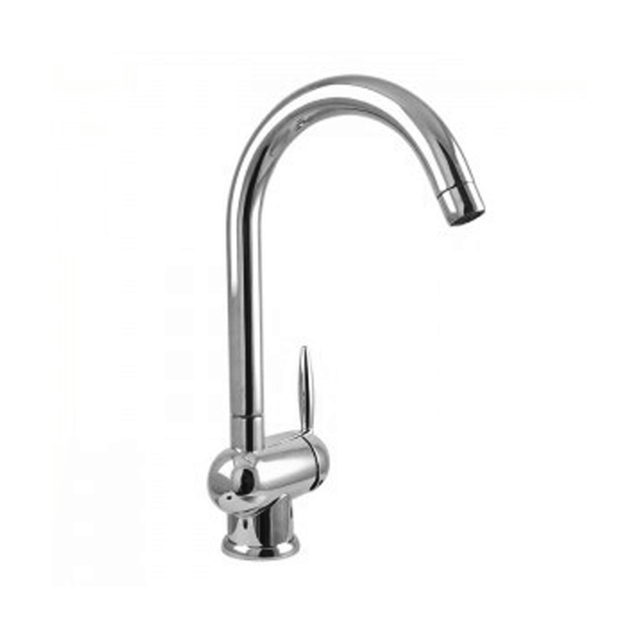 Chrome single pin handle lever gooseneck sink mixer