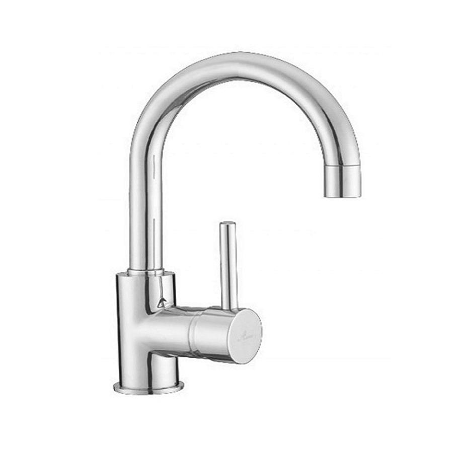 Modern chrome gooseneck basin mixer with pin handle