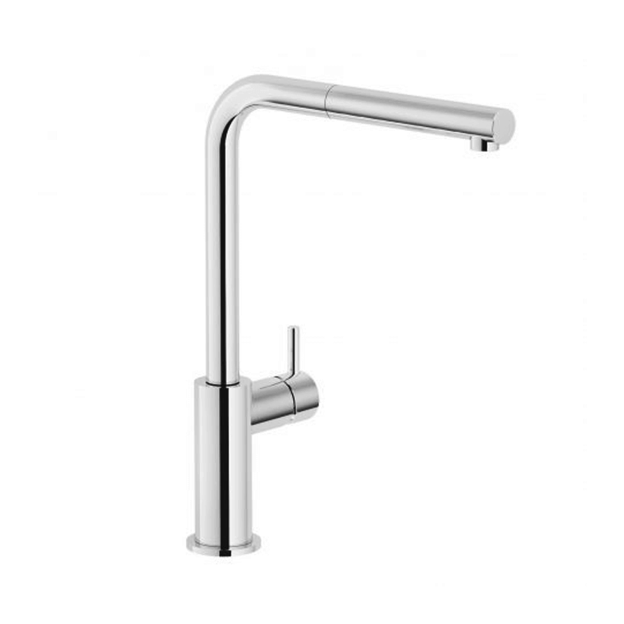 Chrome single pin lever gooseneck pull out sink mixer