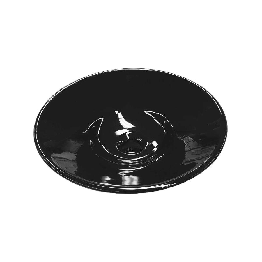 black ceramic round half inset bathroom basin
