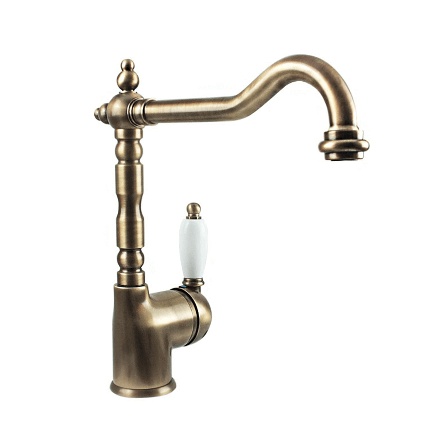 Traditional brass single ceramic handle lever gooseneck sink mixer