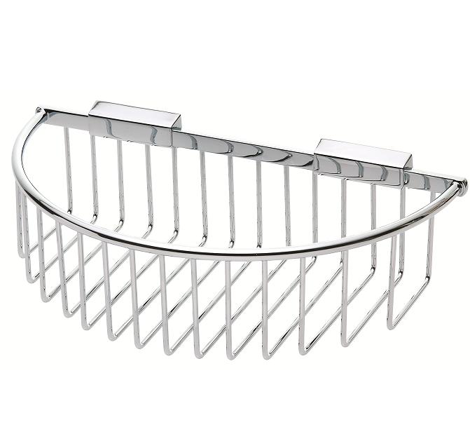 Round wall chrome semi-circular shower basket holder