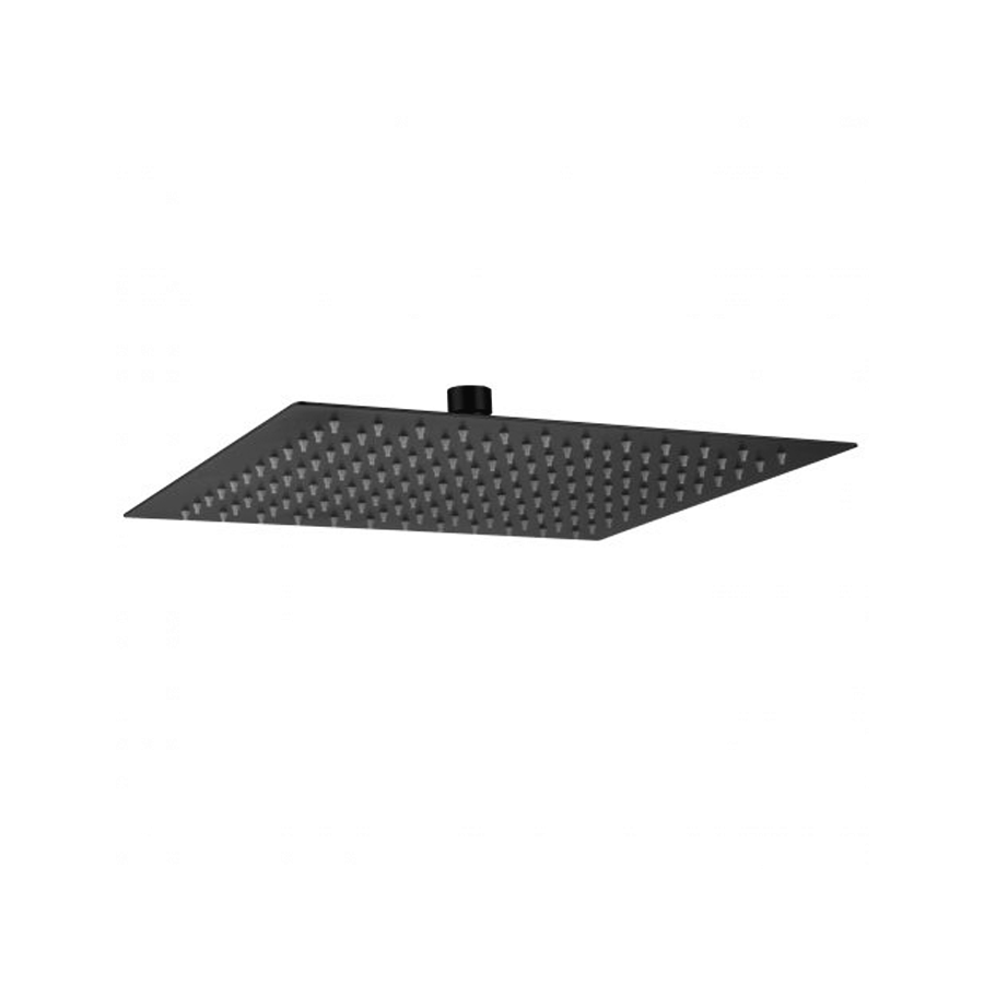 Square black single-function shower head