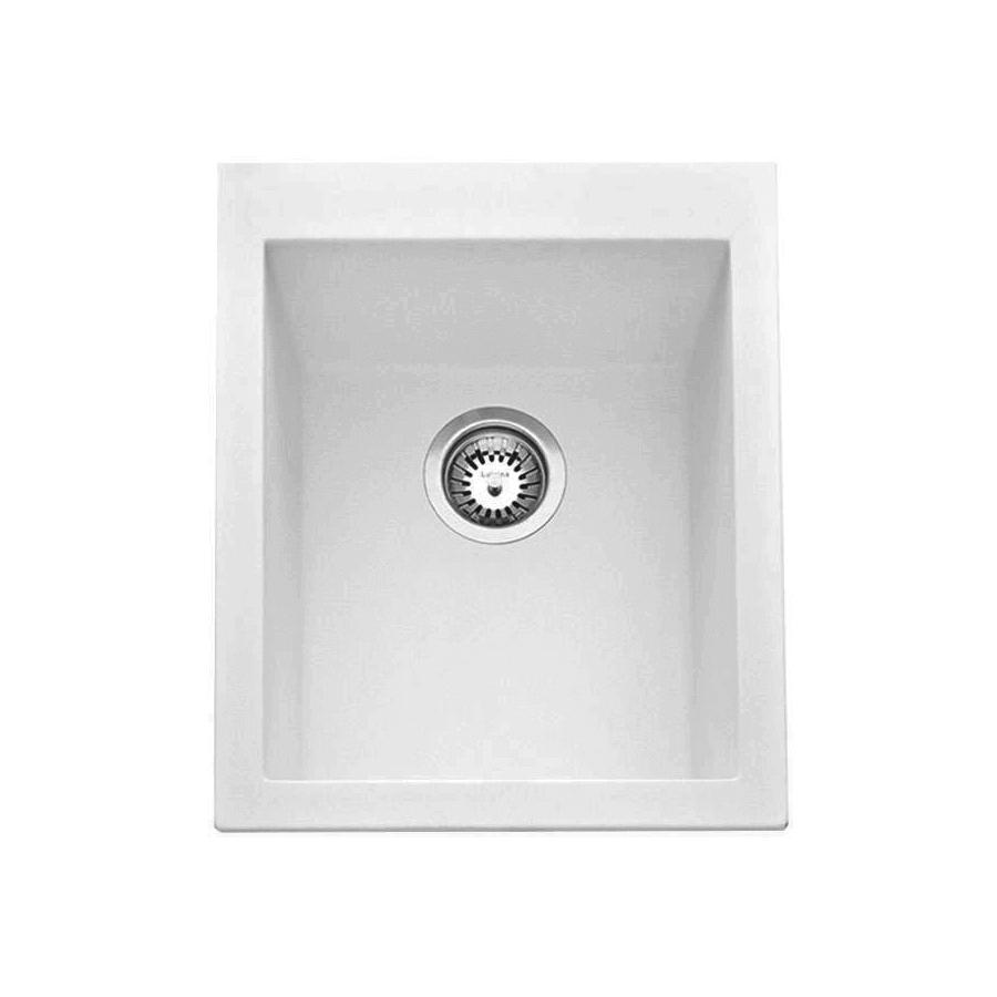 White granite single bowl sink