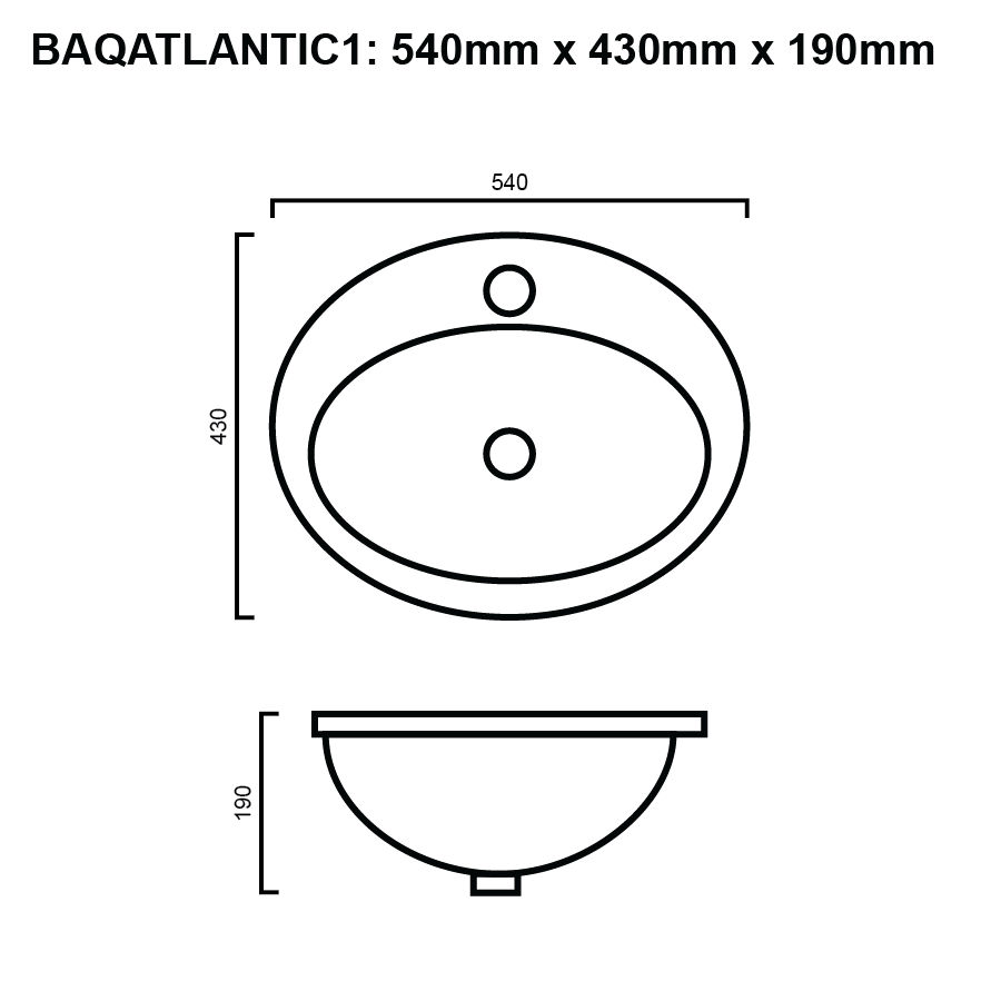 line drawing for round inset bathroom basin