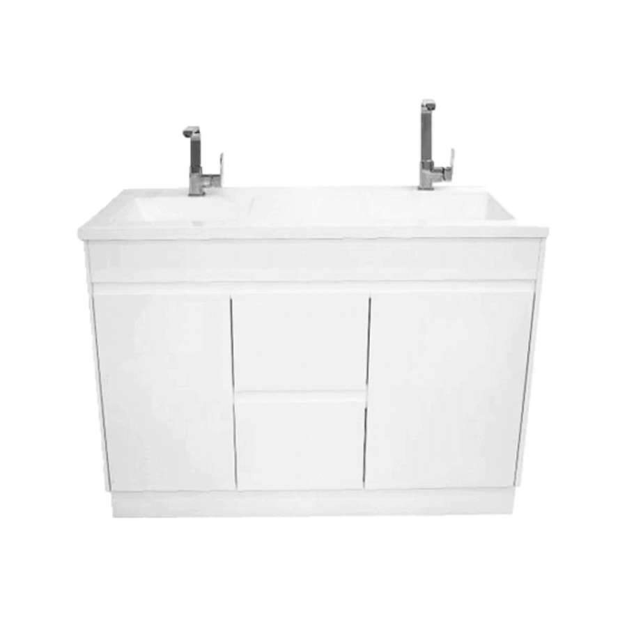 Two door two drawer white 1200 vanity with double bowl polymarble top
