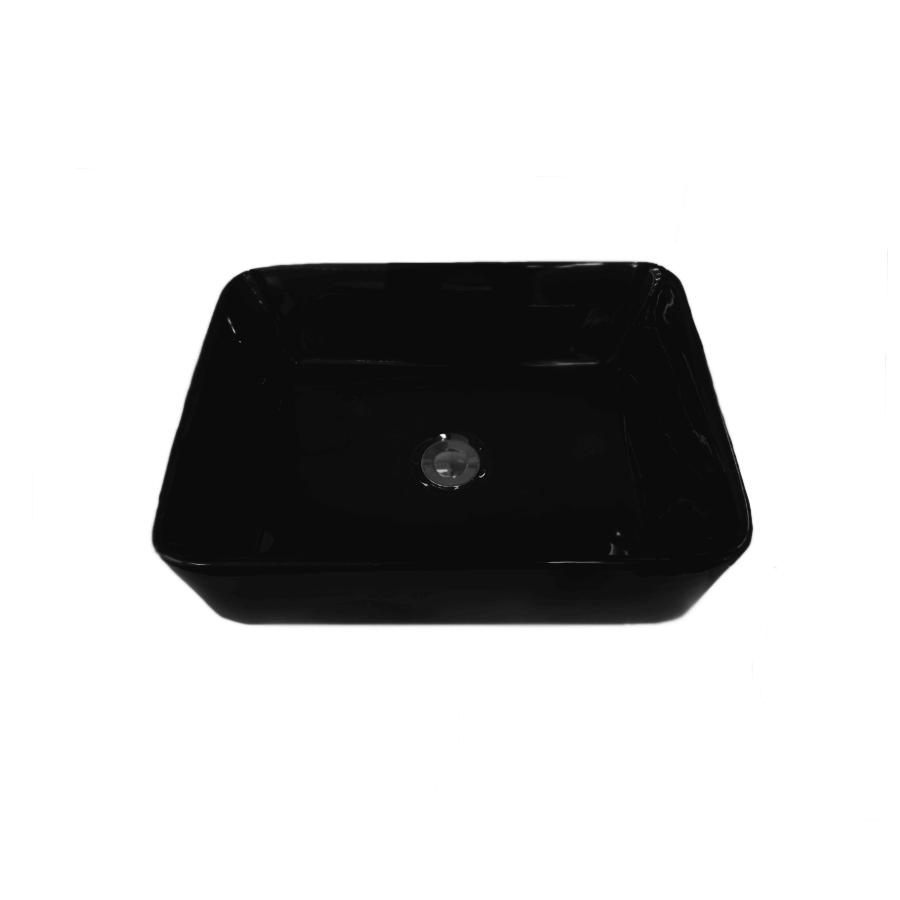 black ceramic rectangle above counter bathroom basin