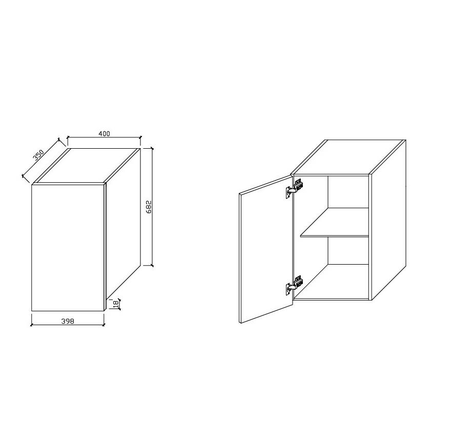 Wall Cabinet Single Door 400 The Sink Warehouse