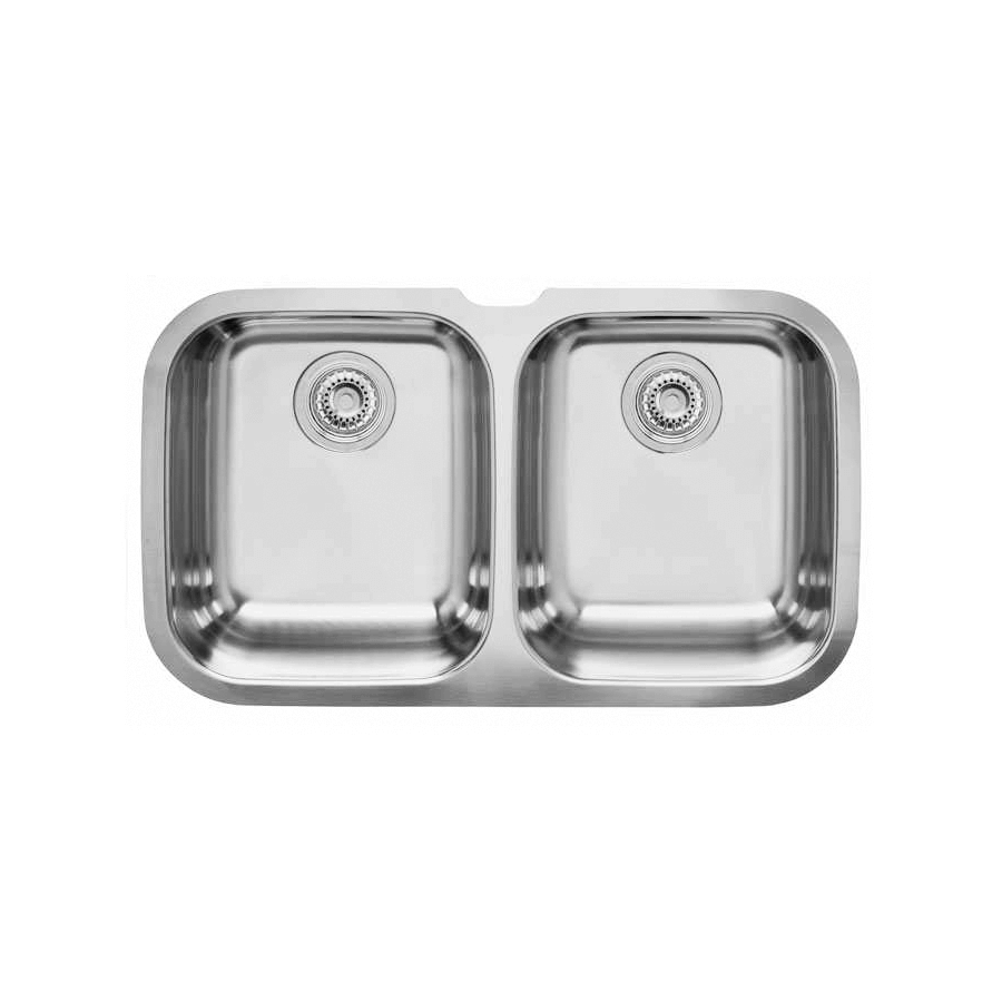 Stainless steel double bowl undermount with basket wastes