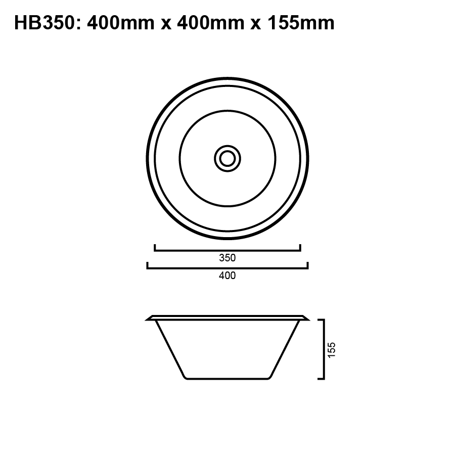 Stainless steel round hand basin 350mm line drawing