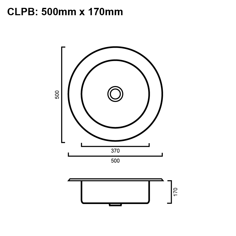 Stainless steel round single bowl sink line drawing