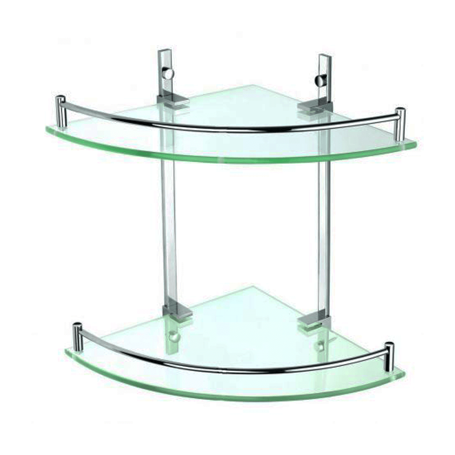 wall mounted glass corner double holder shelf