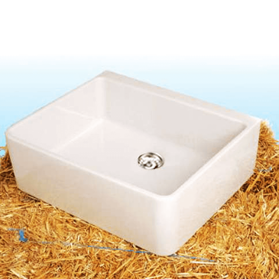 White ceramic single bowl sink with plug