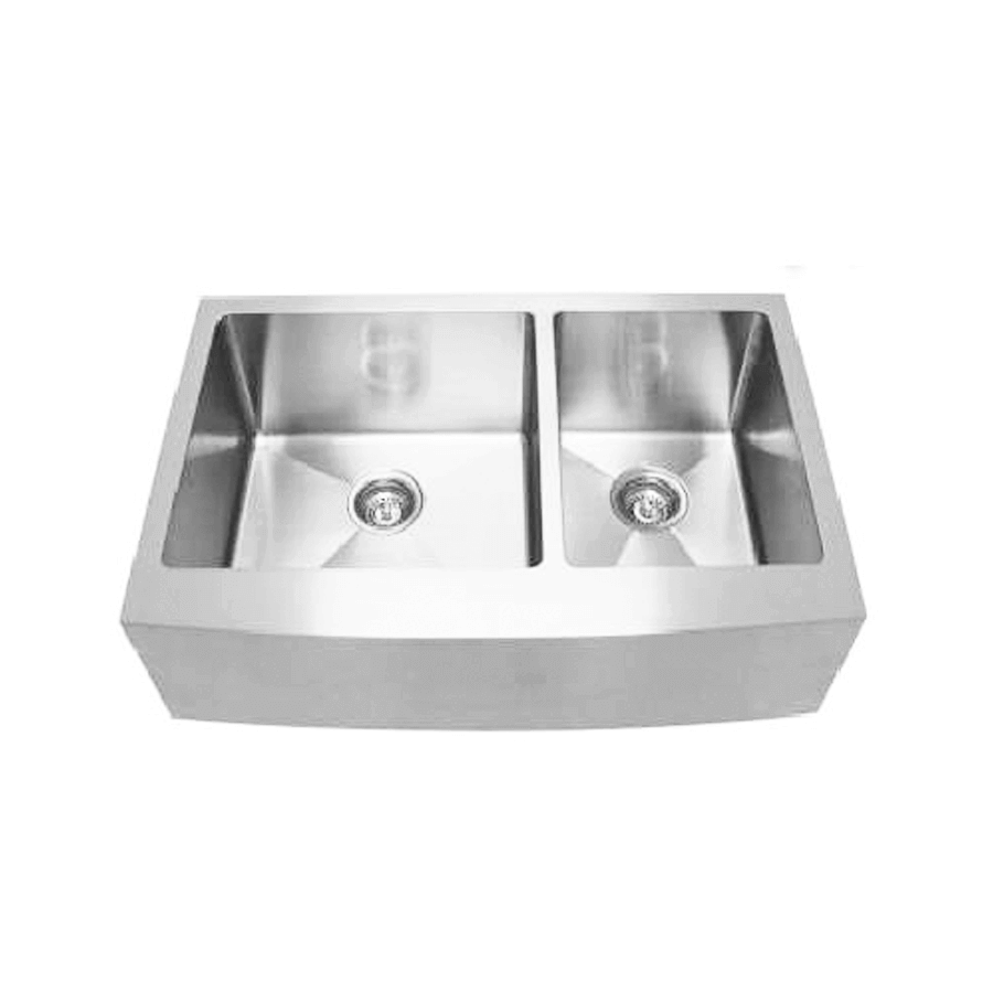 Stainless steel one and three quarter bowl sink with curved front back angle