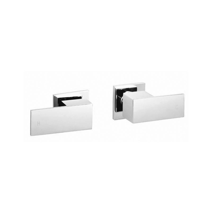 Square chrome wall taps
