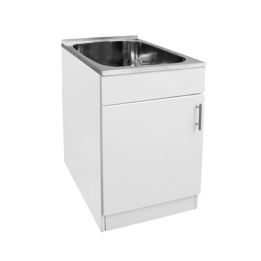 Stainless steel 35 litre trough with white single door cabiner