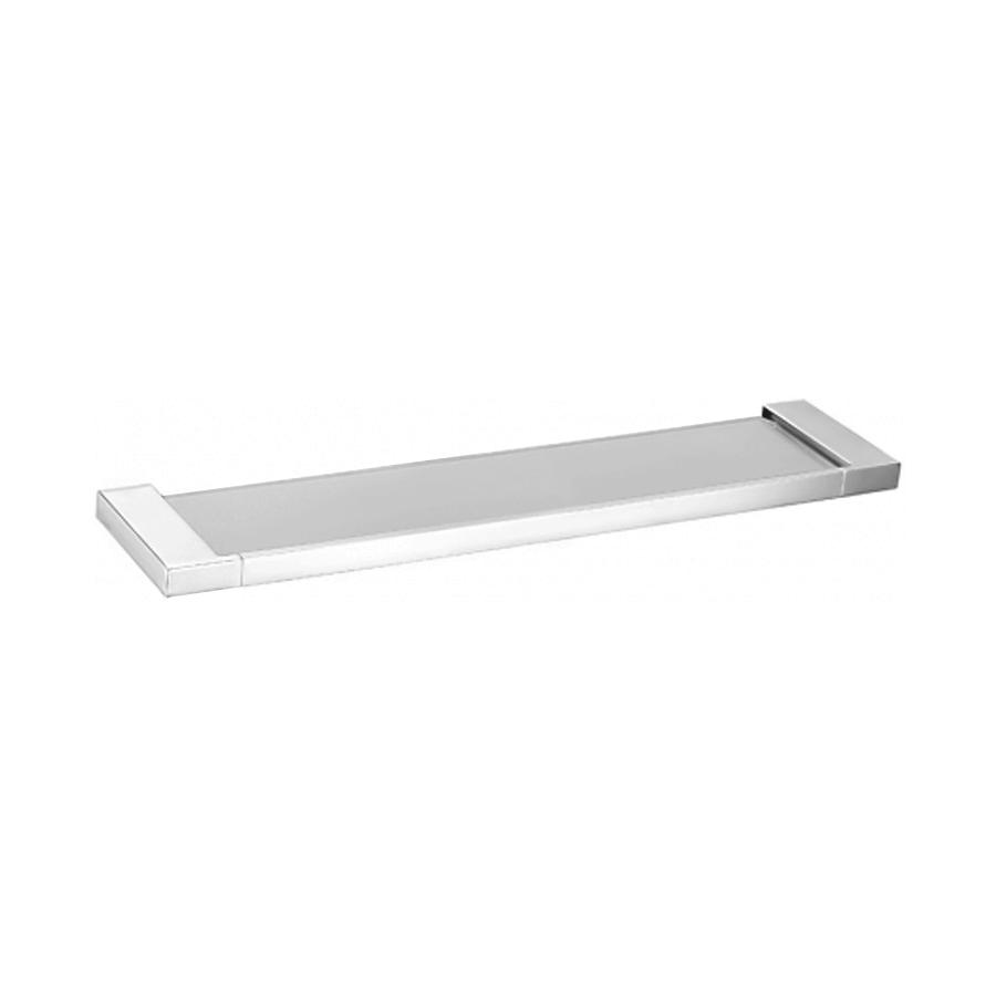 bathroom square vanity shelf glass and chrome