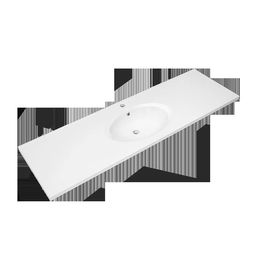 white polymarble round single bowl vanity top 1500mm