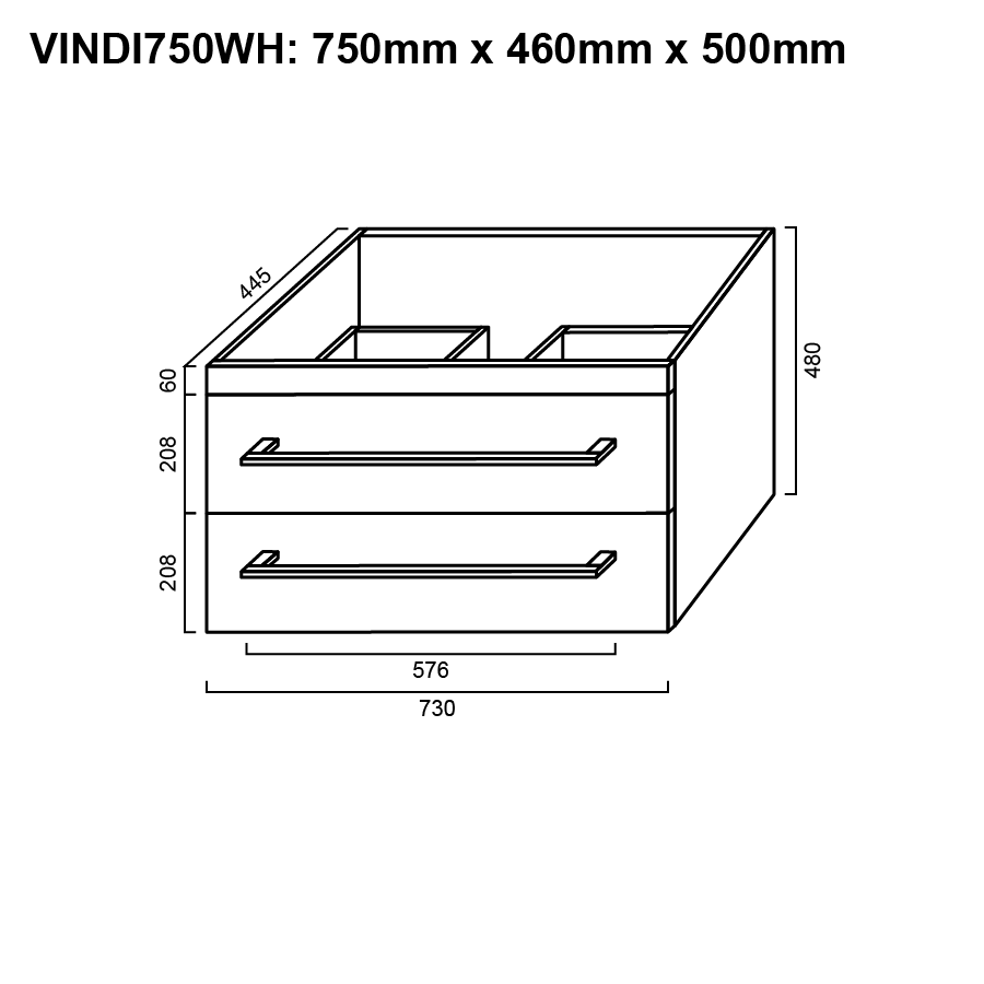 Two drawer white 600mm wall hung vanity with ceramic top line drawing