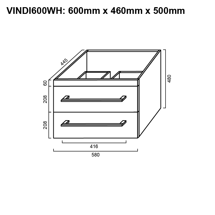 Two drawer white 750mm wall hung vanity with ceramic top line drawing