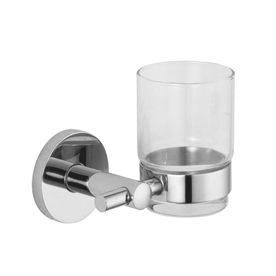 Round stainless steel toothbrush and glass tumbler holder
