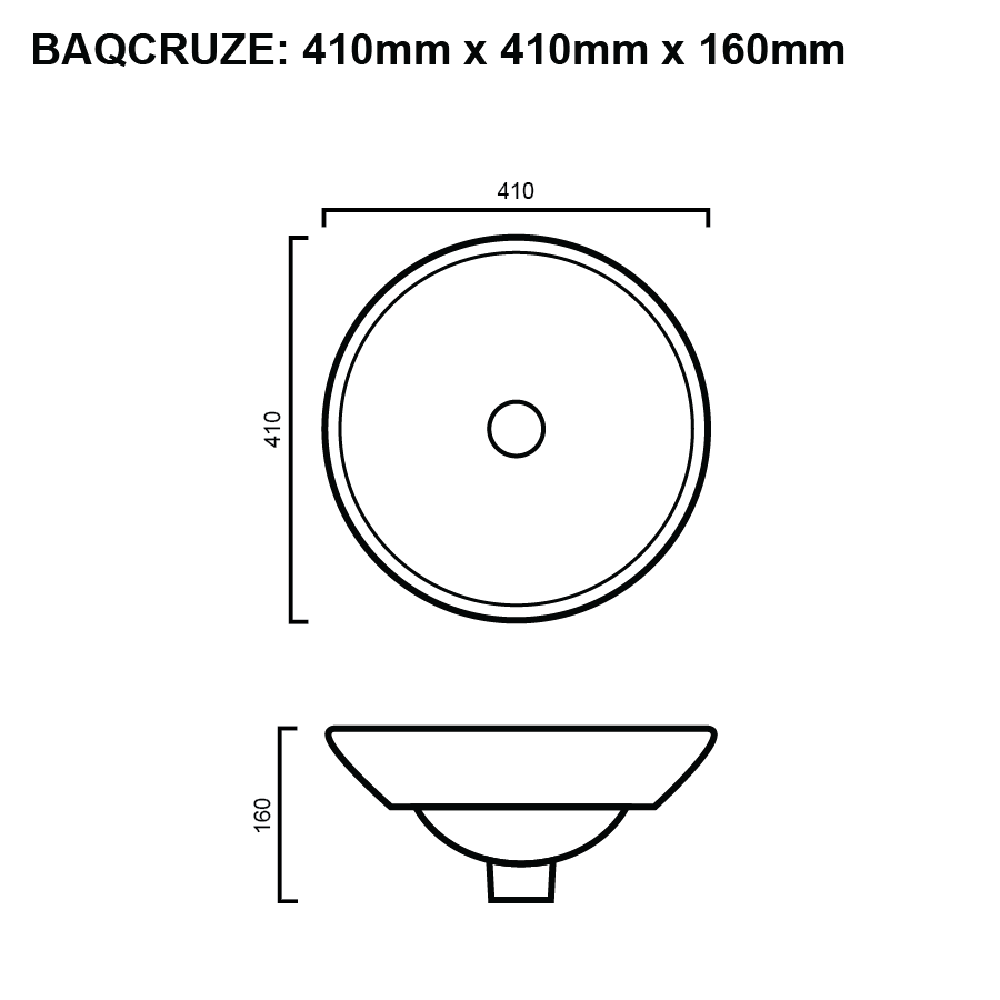 line drawing for round half inset bathroom basin