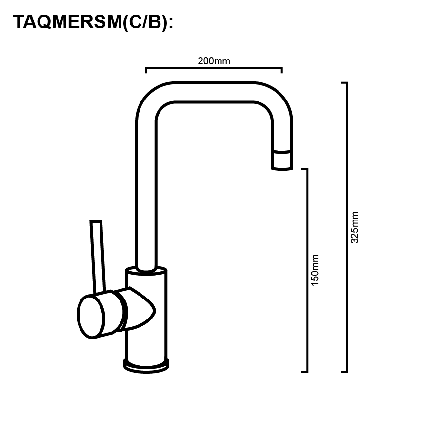 Line drawing sink mixer gooseneck
