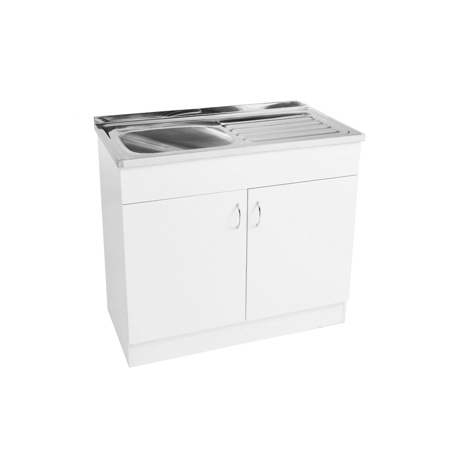 White two door 1000mm laundry cabinet and stainless steel sink with drainer
