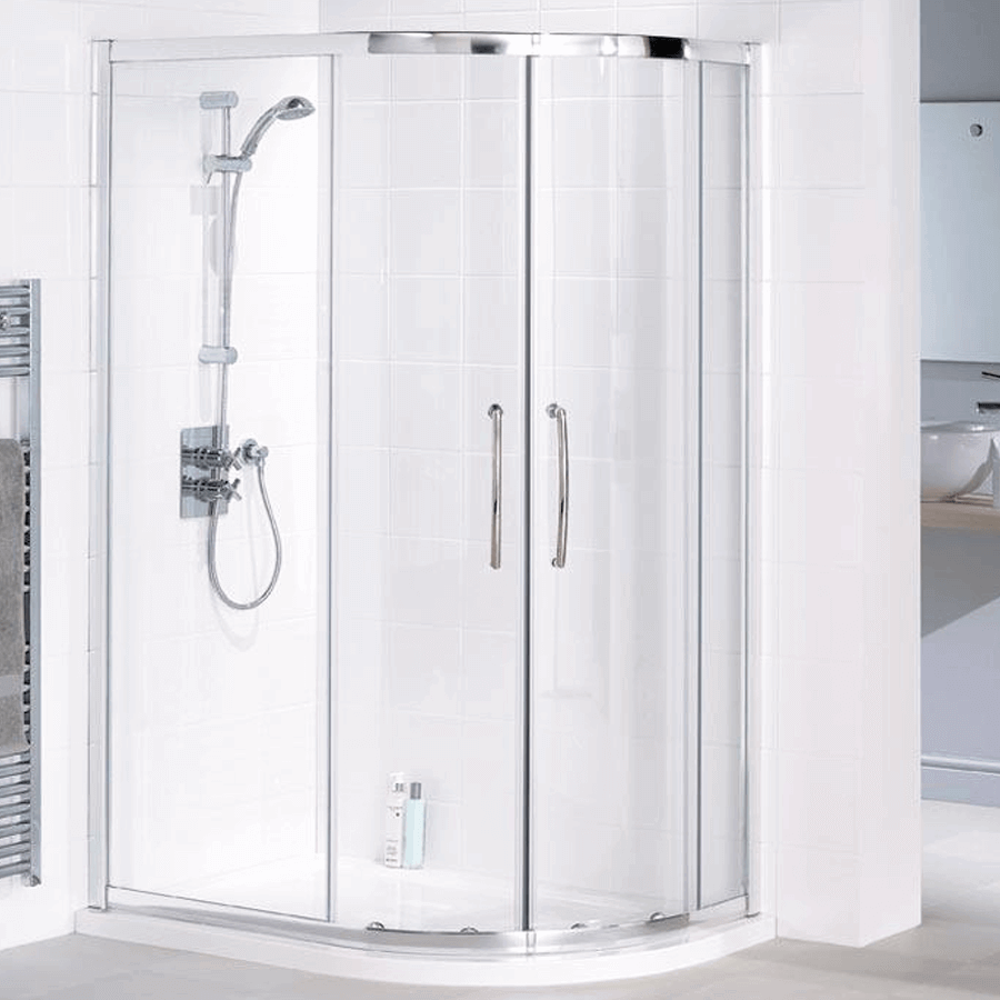 Rounded front gliding door shower cubicle offset 1200x900
