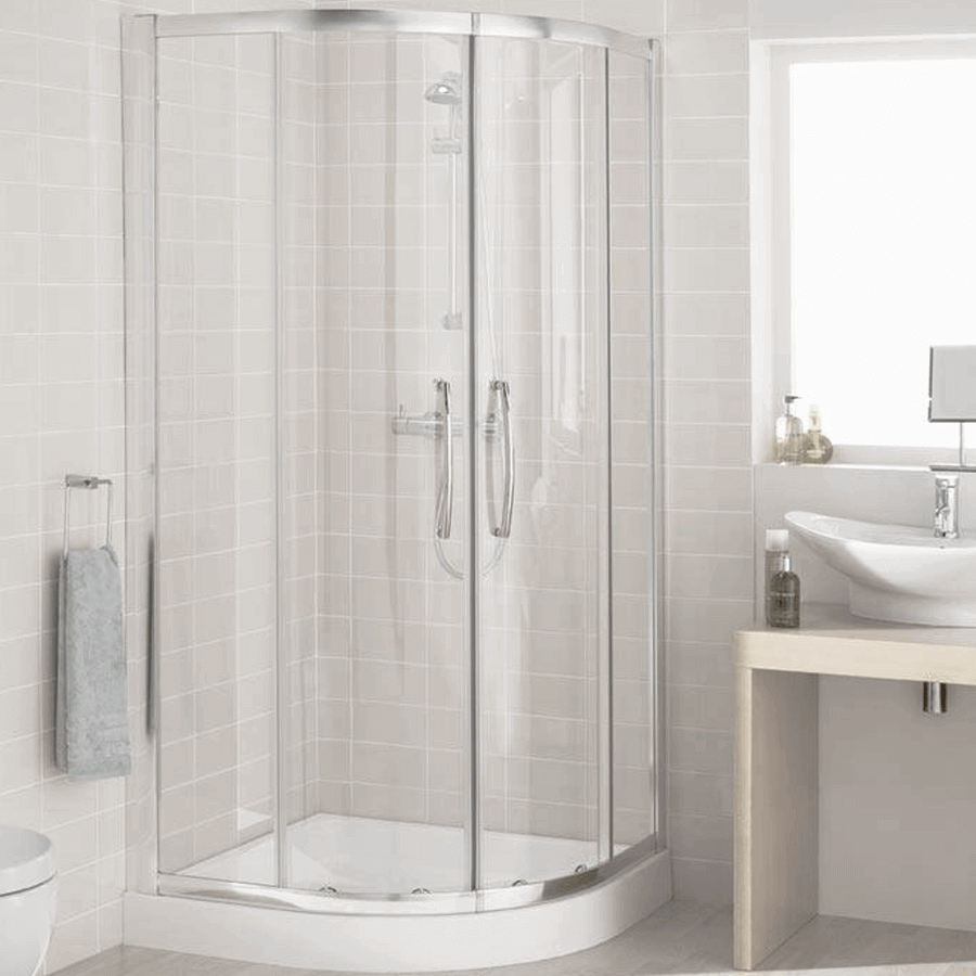 Rounded front gliding door shower cubicle 900x900