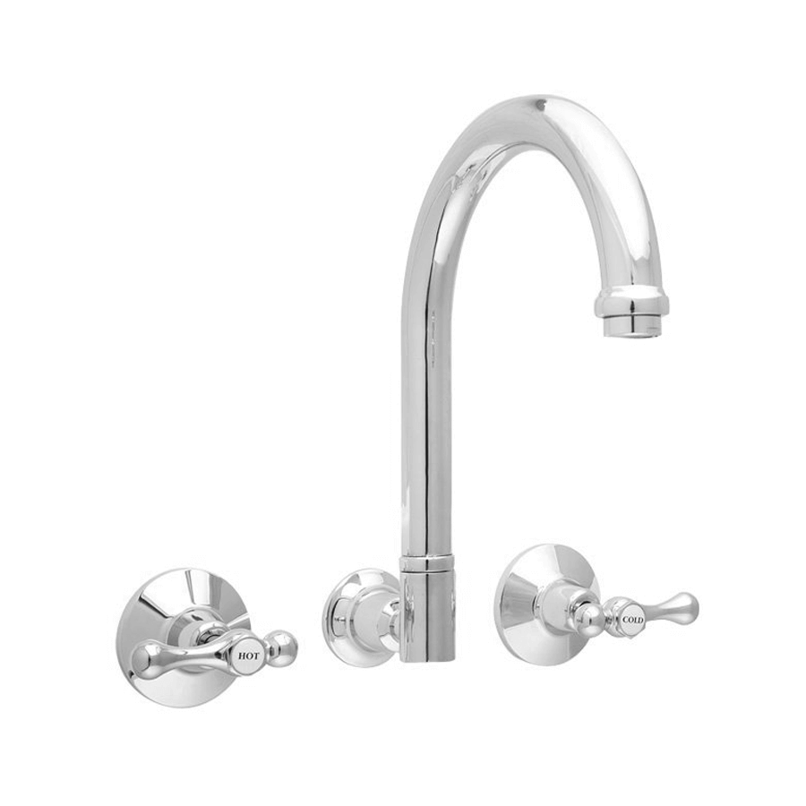 Traditional chrome swivel wall sink and spa spout with taps